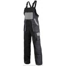 Nohavice s náprsenkou MAX čierno-sivé