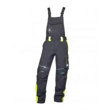 Nohavice s náprsenkou NEON čierno-žlté