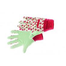 Bavlnené rukavice s PVC terčíkmi FRESH FRUIT červené č. 8